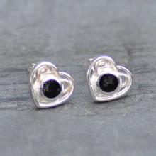Celtic Whitby jet heart earrings