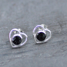 Whiitby jet hear ear studs