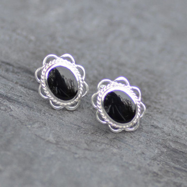 Whitby jet rope and frill stud earrings