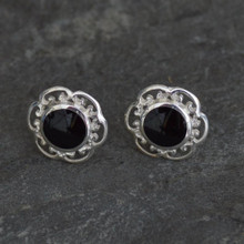 whitby jet scroll stud earrings