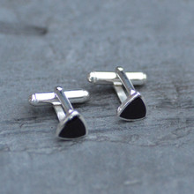 Whitby Jet Curved Triangle Cufflinks  018C