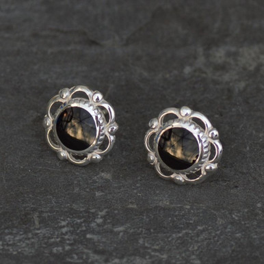 whitby jet frill and bead stud earrings
