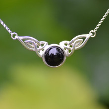 Whitby Jet Celtic Cabochon Necklace 022CN