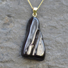 Unique Whitby jet and gold natural shape pendant.