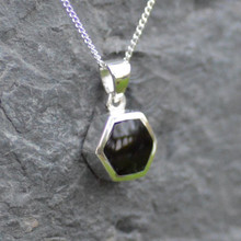 Small jet hexagon pendant