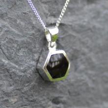 Small jet hexagon pendant