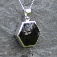 Large Whitby jet hexagon pendant