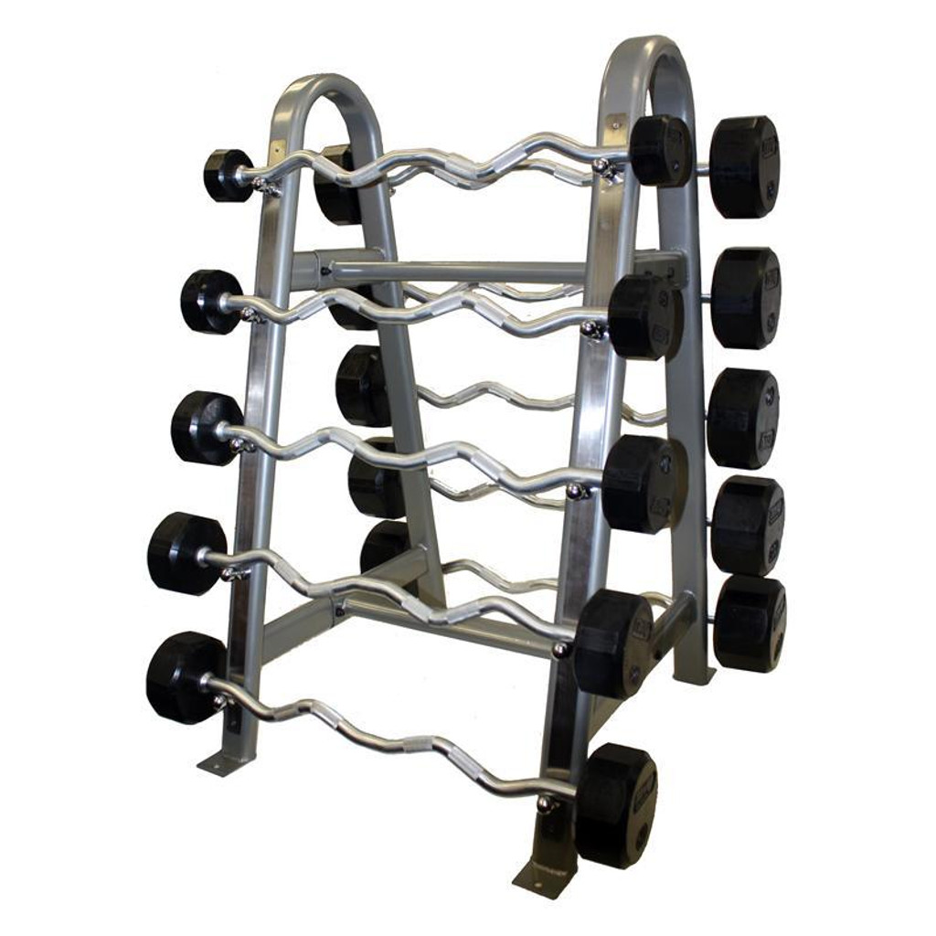 Troy TZBR Rubber Coated Fixed Barbell Set with Rack