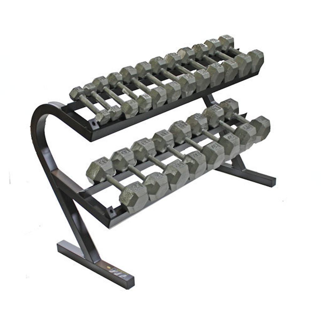 Troy 5-50 Hex Dumbbells w/ Rack