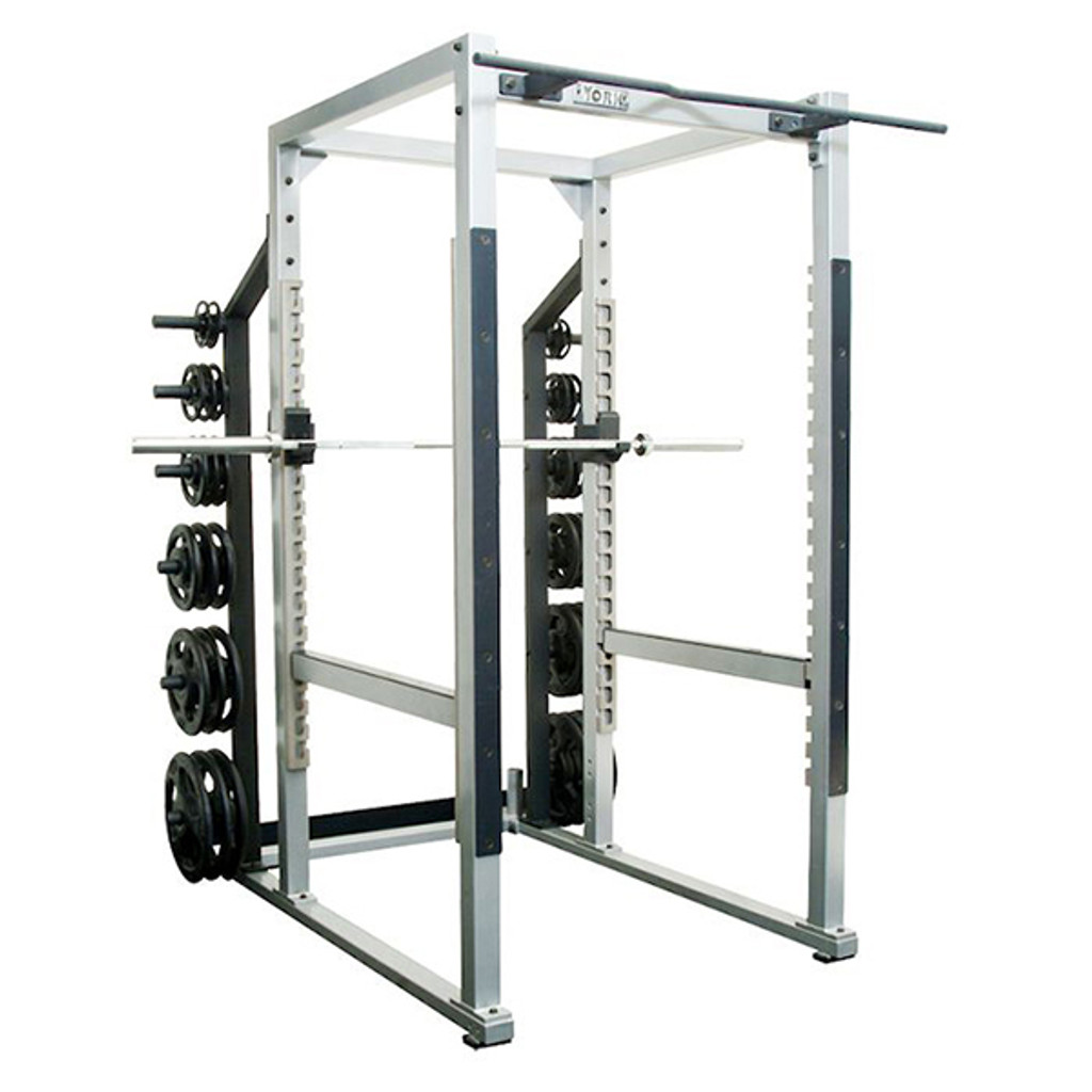 York Barbell STS Commercial Power Cage with Plate Storage