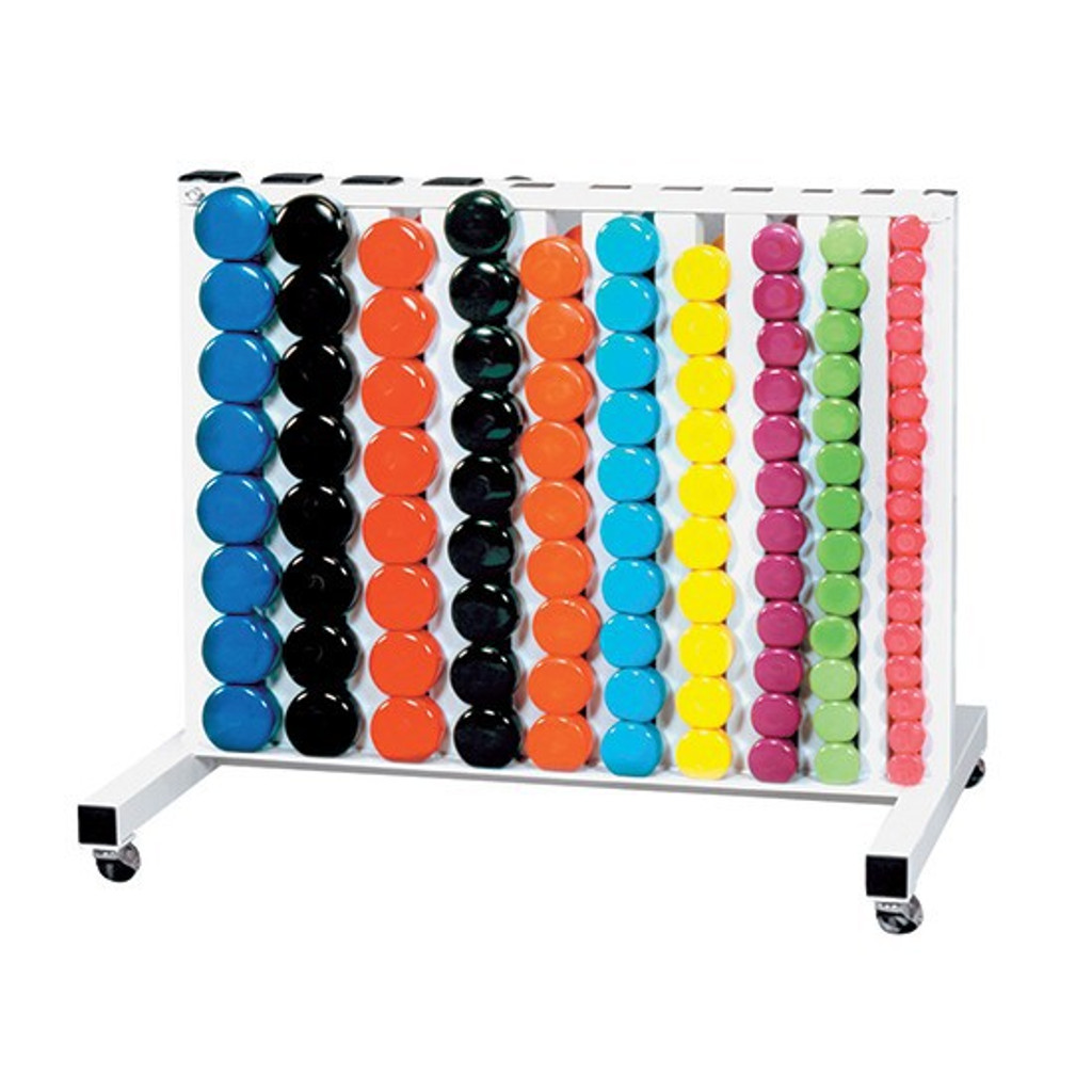 York Barbell Vinyl Dumbbells with Movable Rack