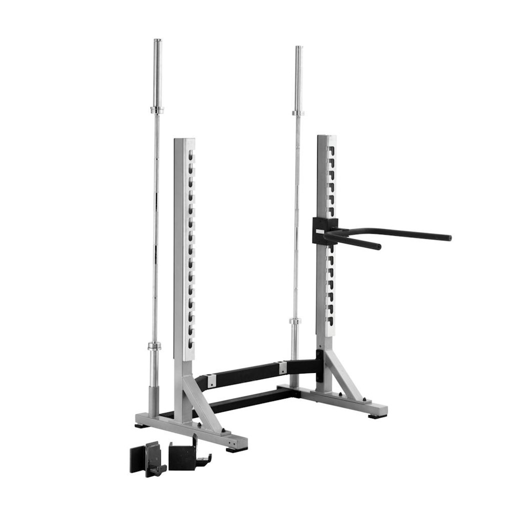 York Commercial Squat Rack with Optional Dip Handles