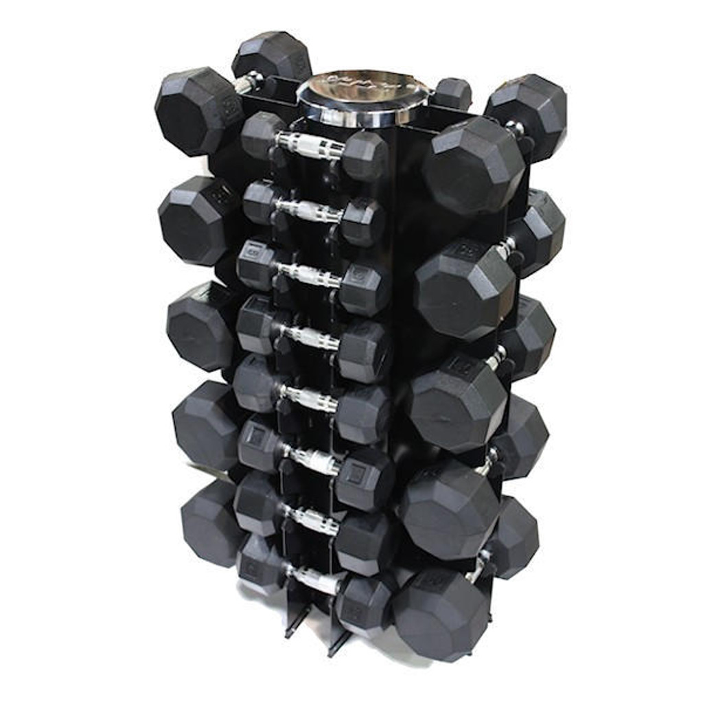 Troy Barbell VTX Rubber Dumbbells with Vertical Rack