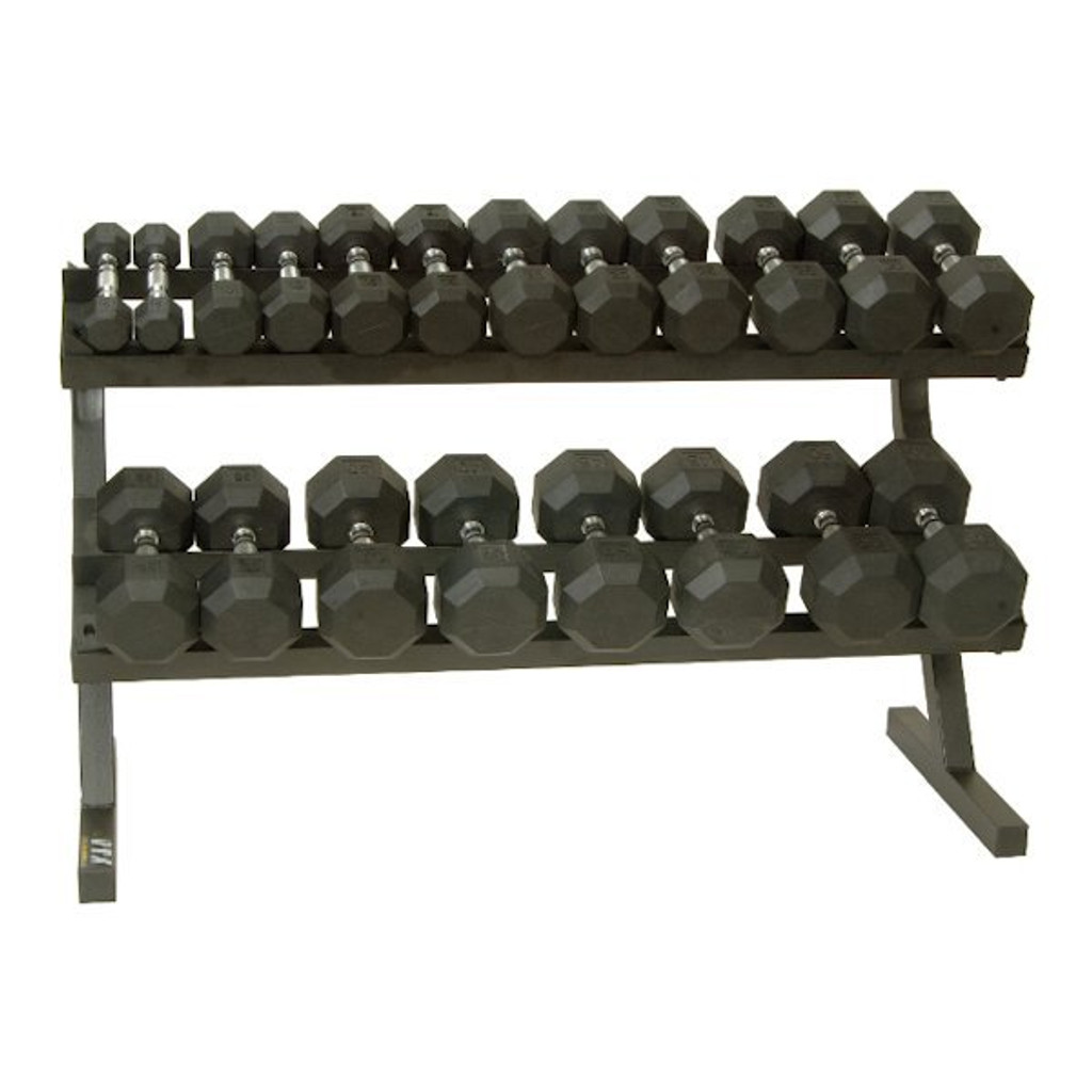 Troy VTX (SD-R) 5-50 lb. Rubber Dumbbell Set with Rack