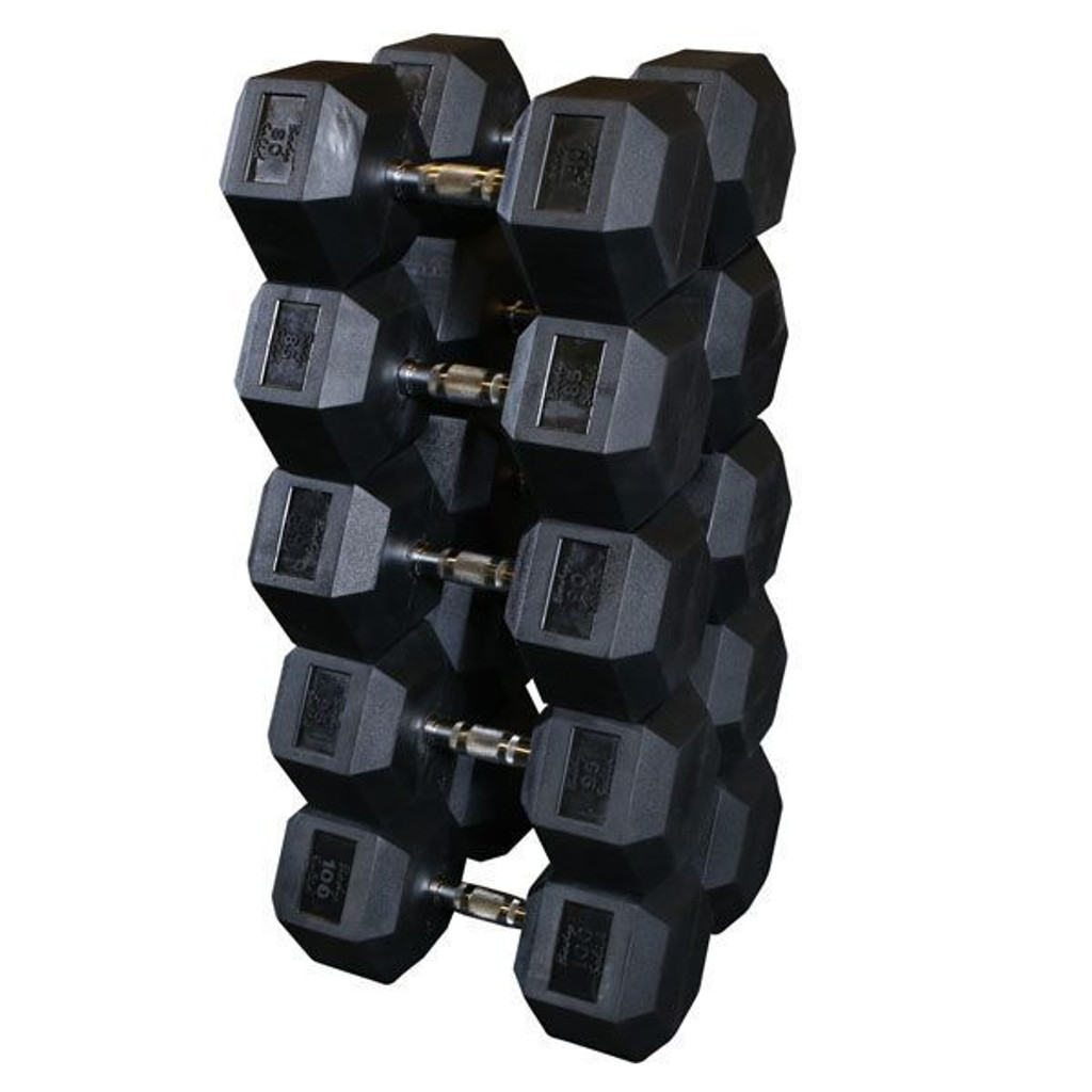 Body Solid Rubberized Hex Dumbbells