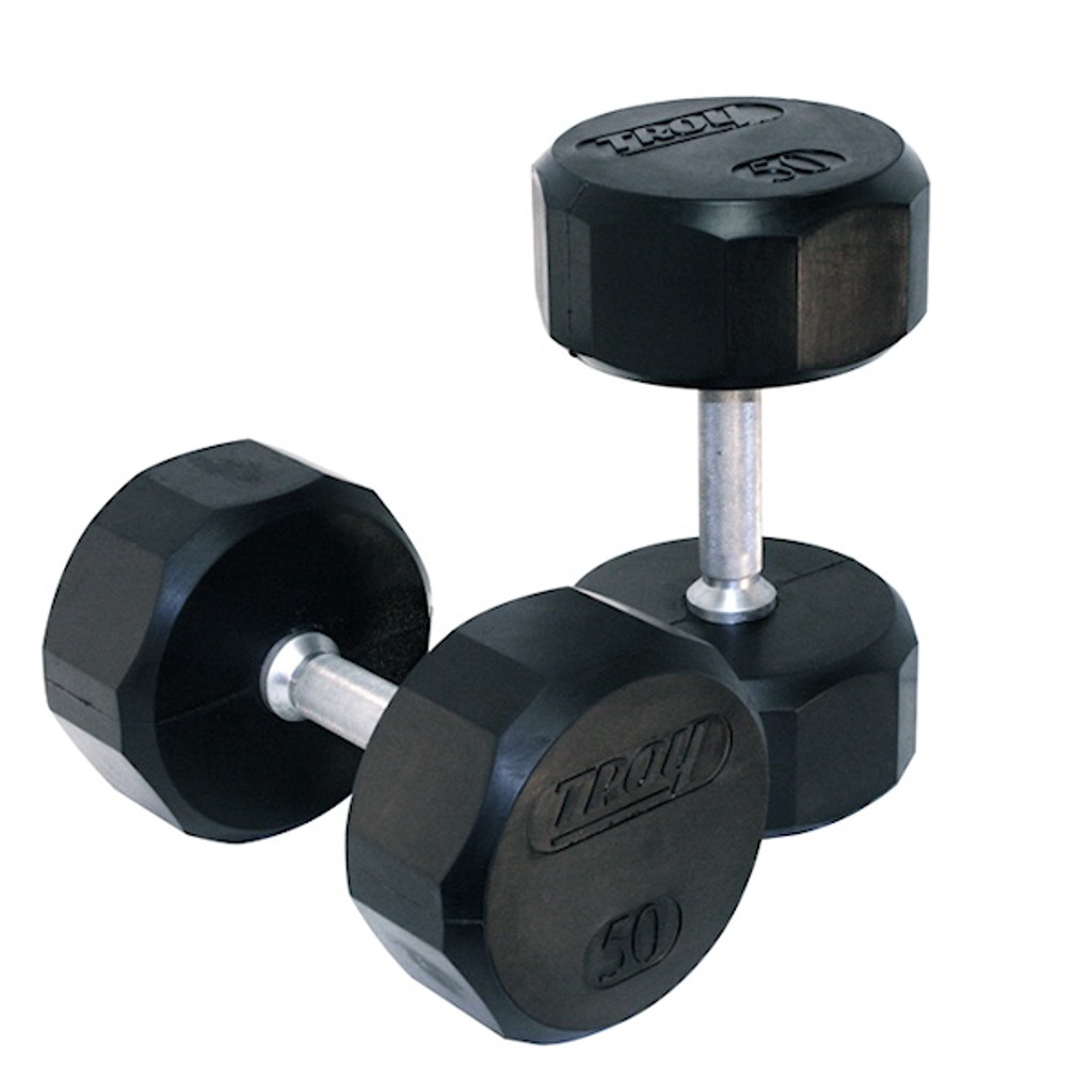 Troy Barbell 12-Sided Rubber Encased Dumbbells