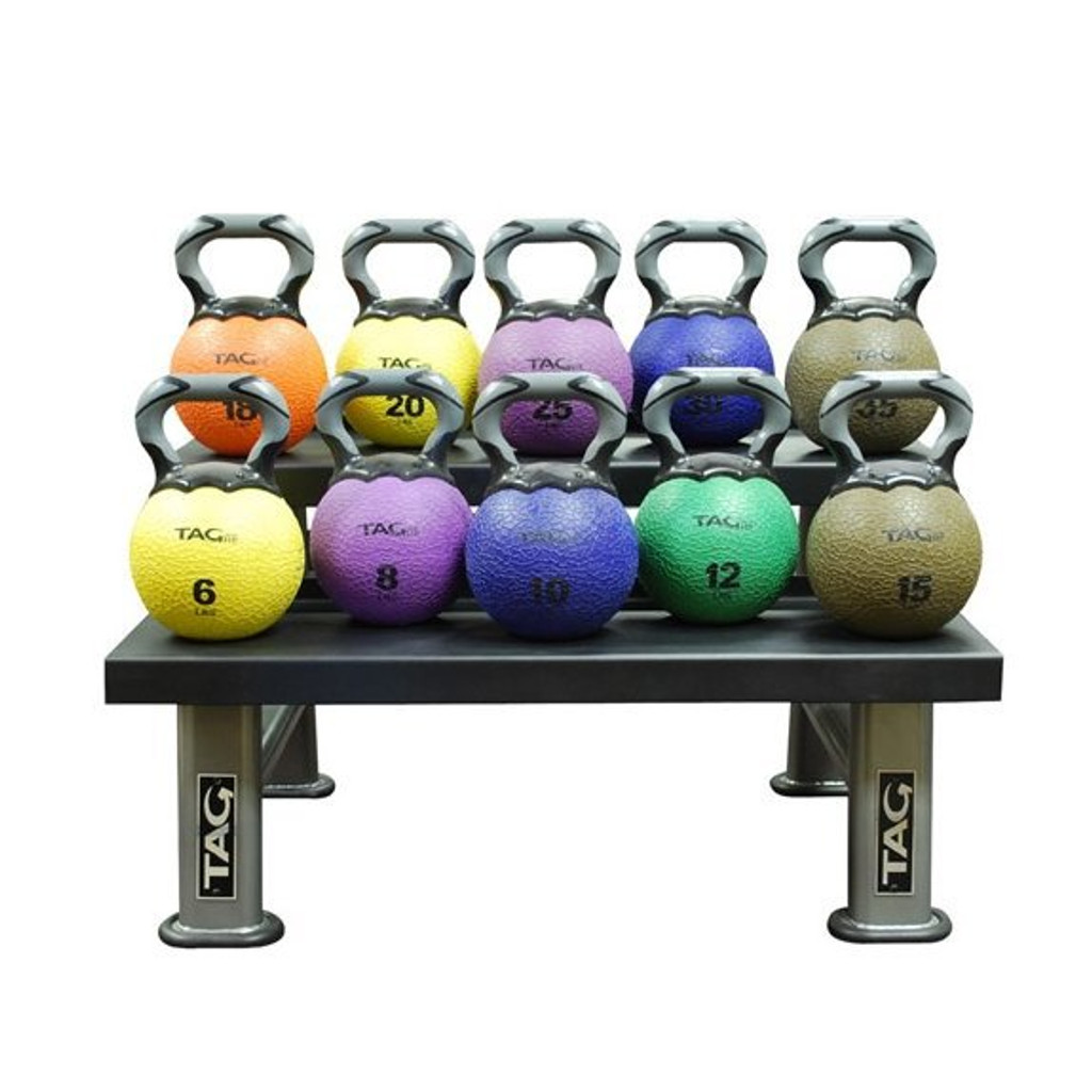 TAG Fitness Kettlebell Rack Pictured with Optional Kettlebells