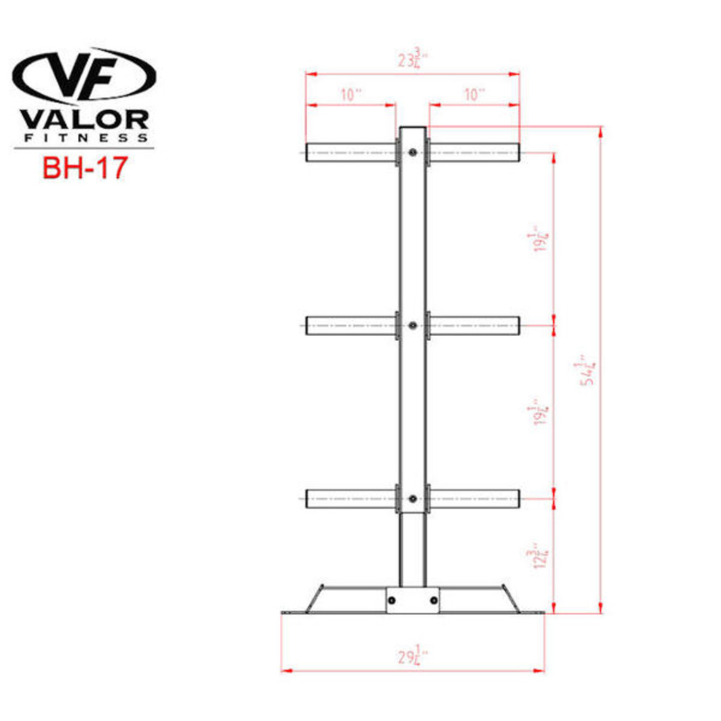 Valor Athletics BH-17 Commercial Weight Tree Dimensions
