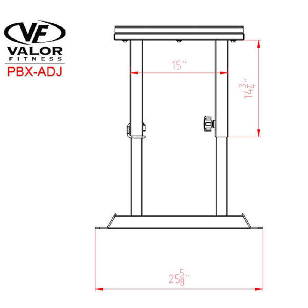 Valor Athletics PBX-ADJ Plyo Box Dimensions