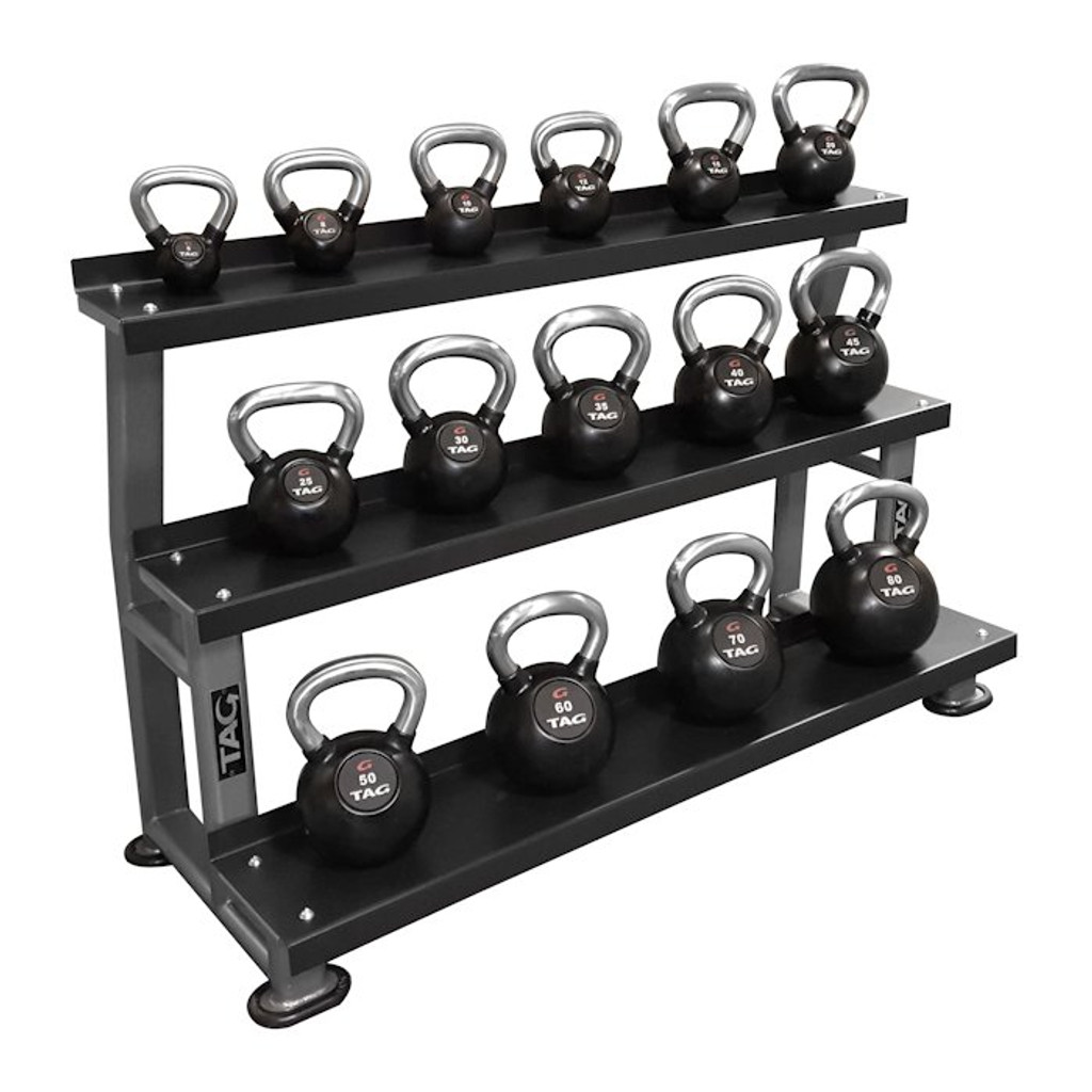 TAG Fitness 5-80 lb. Commercial Kettlebell Set w/ Rack