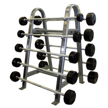 Troy 12-Sided Rubber Encased Barbell Set with Rack