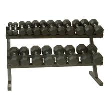 Troy VTX 5-50 lb. Rubber Dumbbell Set w/ Rack