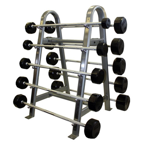 Troy 12-Sided Rubber Coated Fixed Barbells w/ Rack