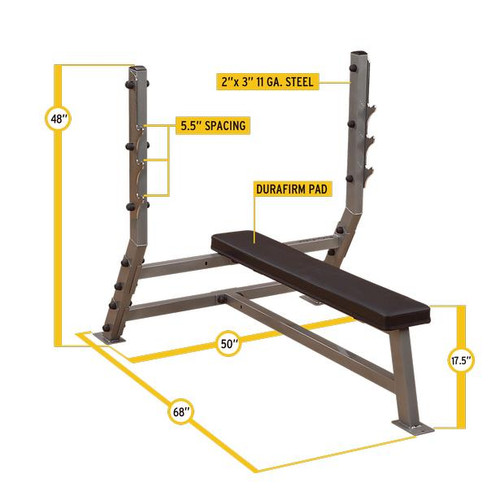 Body Solid SFB349G Olympic Bench Press Dimensions and Features