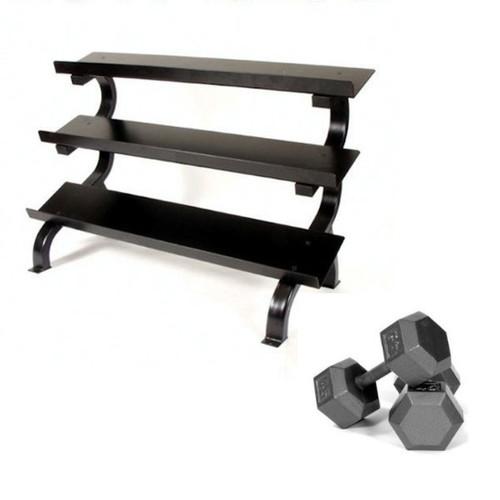 Troy 5-75 lb. Iron Hex Dumbbells w/ Rack
