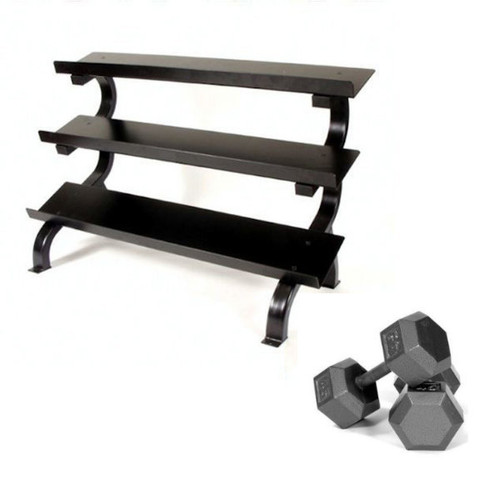 Troy 5-75 lb. Iron Hex Dumbbells w/ Rack