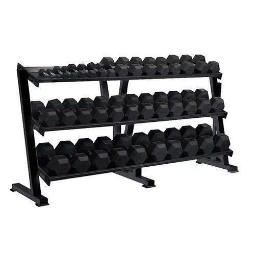 Rubberized Hex Dumbbell Set with Rack - York