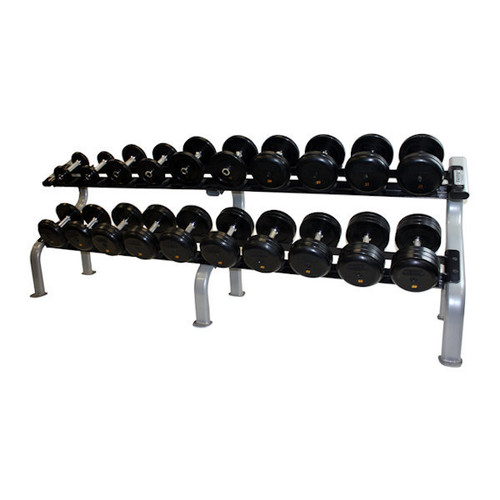 Troy Pro Style Rubber Dumbbell Set with Rack