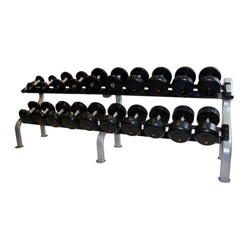 Troy 5-50 Rubber Pro Style Dumbbells w/ Rack