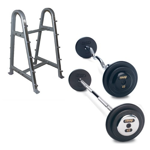 Troy Black Pro Style Barbell Set with Rack