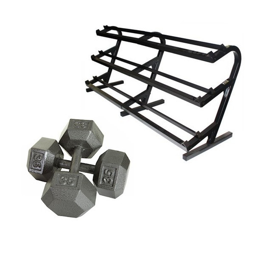 Troy Iron Hex Dumbbells with Rack