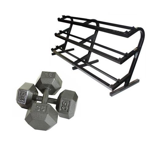 Troy 5-100 lb Hex Dumbbells w/ Rack