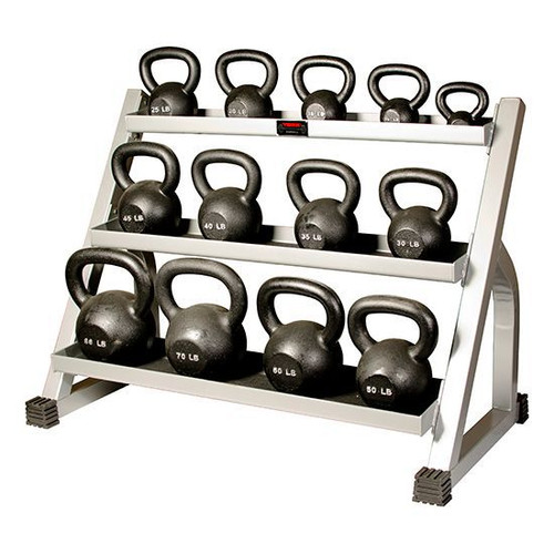 York 5-80 lb. Cast Iron Kettlebell Set with Rack