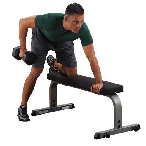 Body Solid Flat Exercise Bench with Wheels