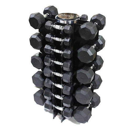 Troy VTX (SD-R) 3-50 lb. Rubber Dumbbell Set with Rack