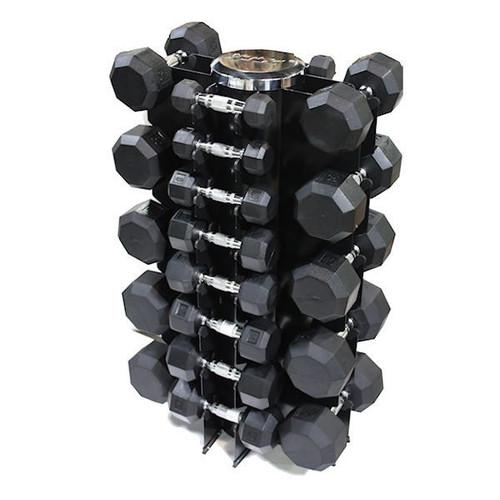 Troy VTX 3-50 lb. Rubber Dumbbells w/ Rack