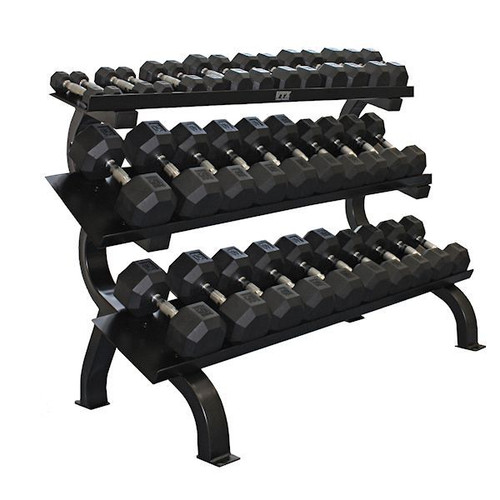 Troy VTX 5-75 lb. Rubber Dumbbell Set w/ Rack