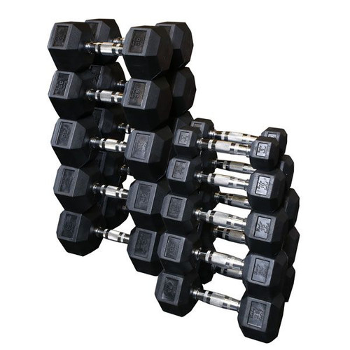 Body Solid Rubber Hex Dumbbells
