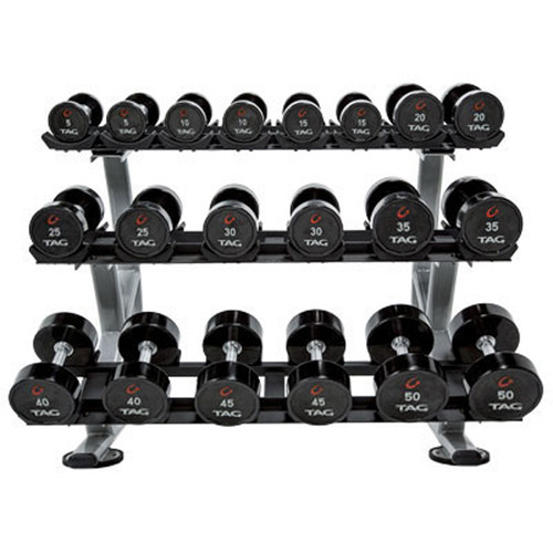 TAG Fitness Ultrathane Dumbbell Set with Rack