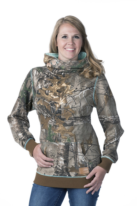 DSG Hunting Side Button Hoodie on Model-Realtree Xtra/Aqua