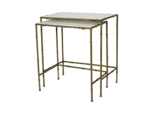 Unionworks Pair of Marble & Brass Bamboo Nesting Tables