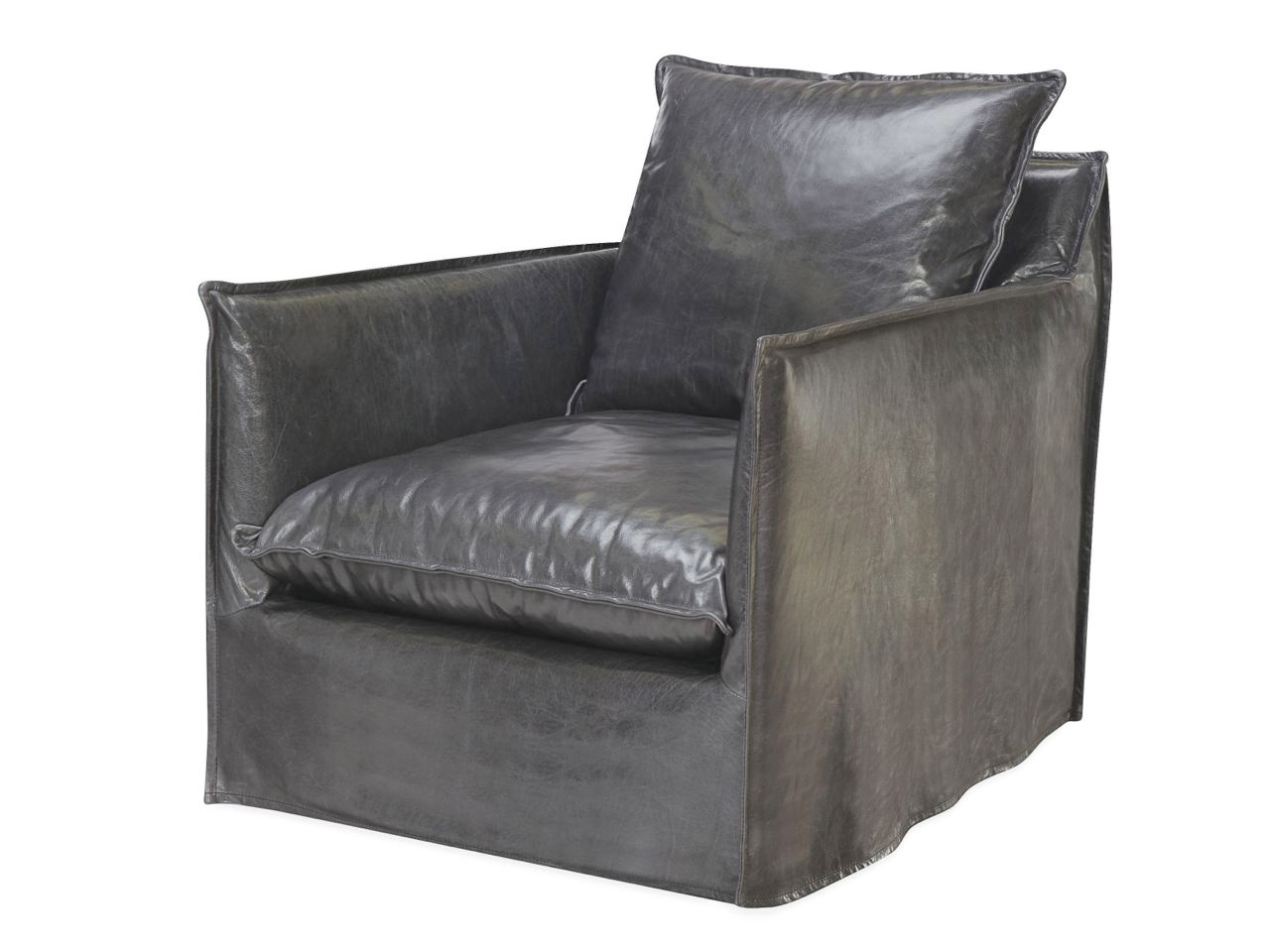 ... Riley Leather Slipcovered Chair. Image 1