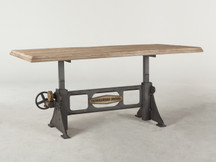 HTM Ironworks Round Adjustable Dining Table