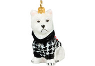 Westie Christmas Ornament in Houndstooth Sweater