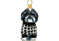 Shih Tzu Christmas Ornament in Houndstooth Sweater (Black & White)