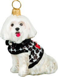 Maltese Christmas Ornament in Houndstooth Sweater